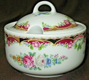 Vintage T. LIMOGES M.A.B.A.RARE Sugar Bowl Lidded Pot Porcellane Artisticle