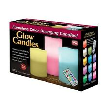 NEW Glow Candles Scented Flameless Color Changing LED Pillar Candles + Remote