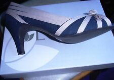 Lotus ALITA Bow Detail Peeptoe Court Shoe Navy/ Natural Size 8 NEW  with Box