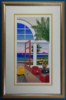 "Fanch Ledan Signed & Numbered ""Pool House in Palm Beach"" Serigraph Framed"