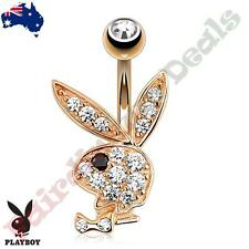 Authentic Rose Gold Playboy Belly Ring with Paved Clear CZ Bunny