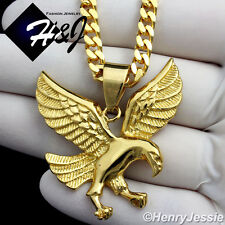 "20""MEN Stainless Steel 4.5mm Gold Cuban Curb Link Necklace 3D EAGLE Pendant*GP95"