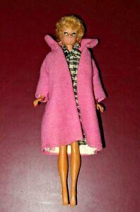 Vintage 1960s Mattel Original Barbie Doll w/ Blonde Bubble Cut, Pink Coat & Suit