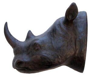 18CM RHINO HEAD COAT HOOK WALL ART HANGING TROPHY ANIMAL RESIN SCULPTURE