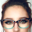 "Cat Eye""Ombre"" Women Eyeglasses Tortoise Two Tone Gradient Shadz GAFAS Blue Lens"