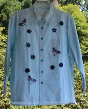 Drapers & Damons Women sz PL Embellished Button Down Teal Striped Top Dragonfly