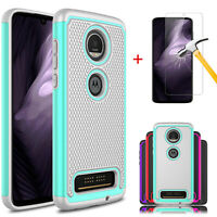 For Motorola Moto Z4 Shockproof Armor Case Cover+Tempered Glass Screen Protector