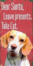 Pet Dog Sign - Beagle Dear Santa Leave Presents [NEW] Wood Wall House Poster