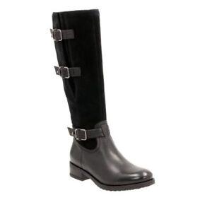 Clarks Tamro Marina Black Combi Leather Long Women's Boots Size UK 4 1/2 D