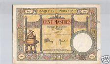 BANQUE DE L'INDOCHINE 100 PIASTRES ND (1925) ALPHABET Z.86 PICK 51 C !!!