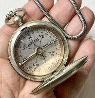 Aurapole, Short and Mason Compass. Metal Lanyard. Antique Pendant fob.