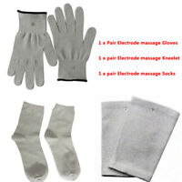 Conductive Electrode Massage Gloves + Socks + Kneepads use with TENS EMS Machine