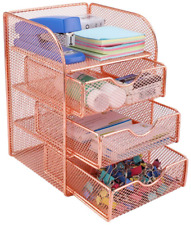 Pag Rose Gold Desk Organizer Stick Note Holder Mesh Office Supplies And Accessor