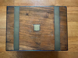 Antique English Walnut and Brass Banded Lap Desk