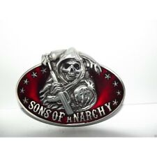 Sons of Anarchy 3D Silver/Red Enamel Grim Reaper Samcro Belt Buckle Fast Ship