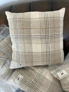 Laura Ashley Cranberry Cranbourne Wool Plaid  Feather Filled Cushion40x40