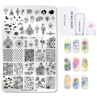 3Pcs/Set NICOLE DIARY Nail Stamping Plates Lotus Leaf Nail Art Stamper Scraper