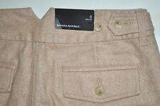 "NEW Banana Republic Tan Herringbone Lined Wool Blend Pants 6R W31"" L32 1/4"" $88"