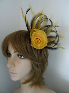 Gold & Black Looped fascinator rose feathers hair clip brooch