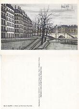 1980's LE PONT DE LA TOURNELLE BY BUFFET UNUSED COLOUR POSTCARD FROM A PAINTING