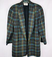 mr. jax Women's Open Front Blazer Size 10 Multi Color Plaid Lined Shoulder Pads