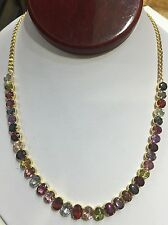 18k Solid Yellow Gold Pendant Necklace W/ Natural Oval Multi Color Sapphire20.15
