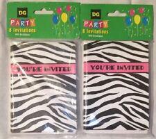 Lot Of 16, Zebra Print Party Invitations, Pink/Black/White, NEW