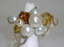 Pearl Cocktail Ring Cream & Brown Beads Cluster Free Style W/ Chain Loops