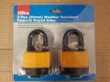 2 piece Weather Resistant Padlock Keyed Alike 50mm security strong lock