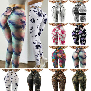 Women Push Up Workout Leggings New Bow Tie Mid Waist High Elastic Fitness