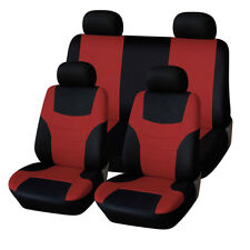 Universal  soft Polyester Car Suv Seat Cover Full Front+Rear 5-Seat BLACK & RED