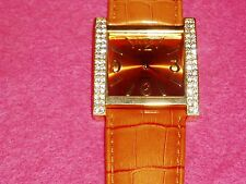 Gorgeous ORANGE JOAN RIVERS Watch w/PAVE' Rhinestones & Genuine LEATHER Band.NEW