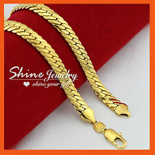 24k Gold GF N58 Diamond Cut Chunky Wheat Chain Men Women Solid Foxtail Necklace