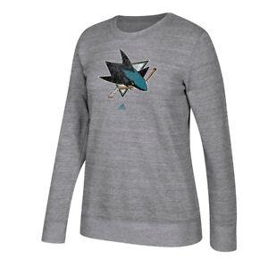 San Jose Sharks Adidas Team Logo Graphite Heather Comfy Crew Sweatshirt Women's