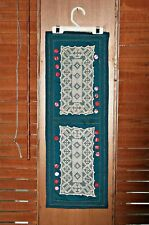 """Handmade Lace Wall Hanging, 100% Cotton Green, Gold Metal Thread, 9 1/2"""" x 27"""""""