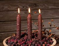 NEW!~Primitive Cinnamon Apple Taper Candle~Set of 3~Grungy/use w/ Yankee/Country