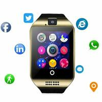 New Rose Gold Smart Wrist Watch GSM Phone For iPhone X XS XR Samsung S9 S10 LG