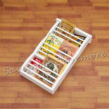 1:12 White Wood Newspaper Magazine Rack Dollhouse Cabinet Miniature Decor Gift
