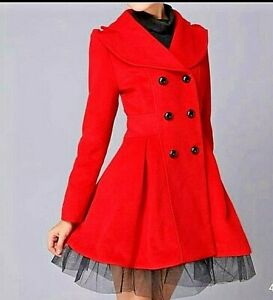 Women Flare Double Breasted Trench Jacket Overcoat Ladies Long Fashion Coats