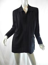 Exclusively Misook Black Long Sleeve Open Knit Jacket w/ Pockets Sz M