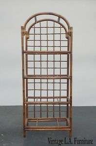 Vintage Mid Century Modern Bamboo Rattan Bookcase ~ Etagere (No Glass)