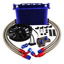 "For BMW Mini Cooper S R53 1.6L 02-06 13Row Oil Cooler Kit+7"" Electric Fan Kit BL"