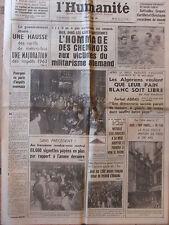 L'Humanité - (11 août 1962) Algériens - Cheminots victimes- D. Ivernel -Adoption