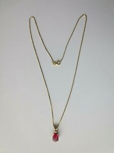 """Ruby Teardrop Pendant Necklace with Diamond in 14K Yellow Gold 16"""" Chain"""