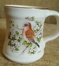 Beautiful Prinknash Abbey Pottery gilded mug with detailed Linnet bird 3.5 inch.