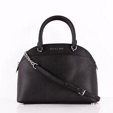 NWT Michael Kors EMMY Black Leather Large Dome Satchel Shoulder Bag