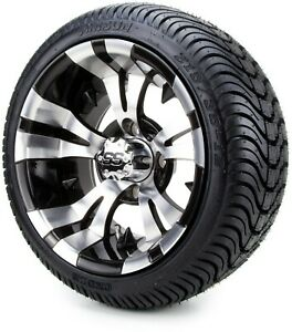 """12"""" Vampire Machined & Black Golf Cart Wheels and Tires (215-35-12) Set of 4"""