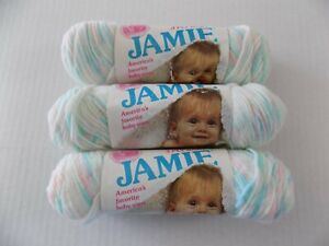 3 Skeins JAMIE Baby Yarn Peppermint Print 246 1. 5 oz. 170 Yards Each Lion Brand