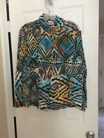 Chico's Women's Size 2 Multi Color Knit Zip Up Long Sleeve Jacket Blazer Top!!!