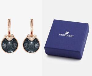 New in Gift Box SWAROVSKI Brand 5299317 Rose Gold Gray Bella V Pierced Earrings
